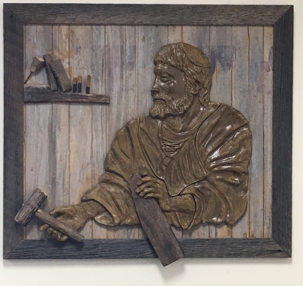 St. Joseph the Worker is a piece created and donated by artist Terese Maletta